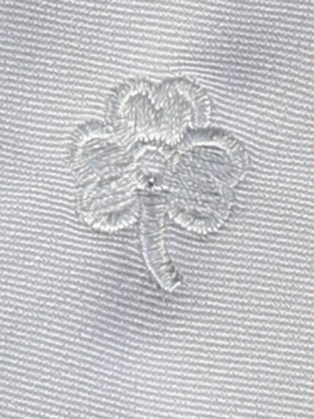 White Zipper Tie with Embroidered Shamrock - LT-EM4