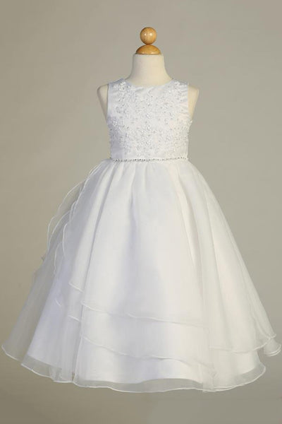 Beaded Embroidered Applique Communion Dress with Organza Skirt – SP604