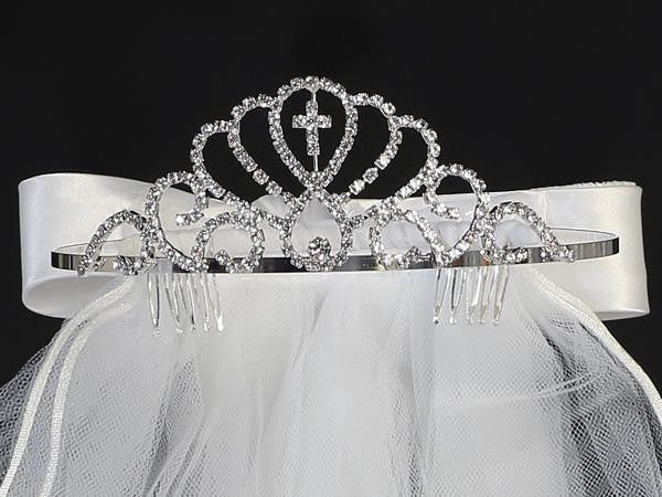 First Communion Cross Tiara with Veil  T-414