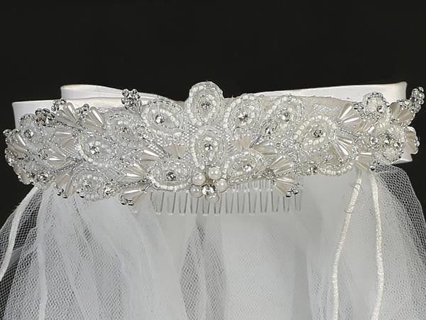 Beaded First Communion Veil with Rhinestone – T-421