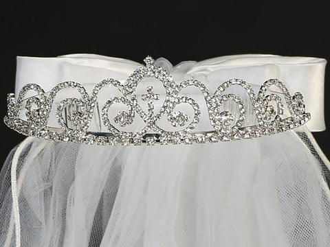 Rhinestone First Communion Tiara with Attached Cross  T-425