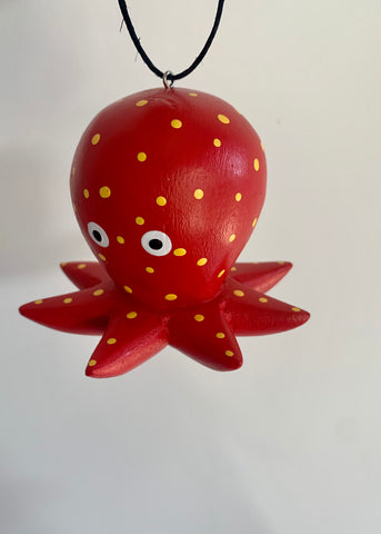 Women of the Cloud Forest - Red Polka Dot Octopus Ornament