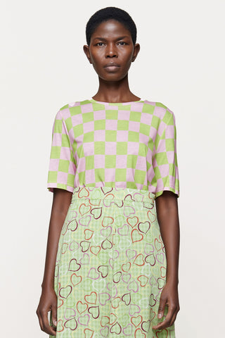 Stine Goya - Leonie Top: Checkerboard Green - ouimillie