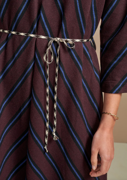 Bellerose - Acryl Dress: Burgundy + Blue Chevron
