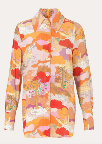 Stine Goya - James Shirt: Orange Dreamscape