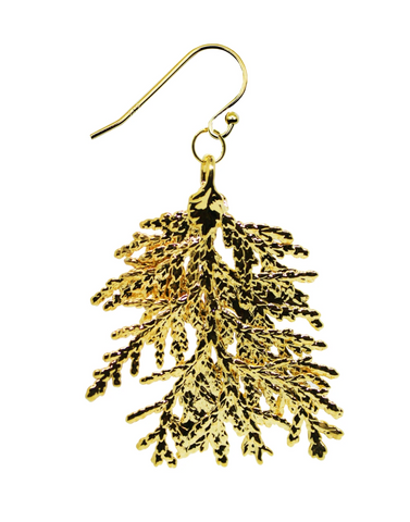 Dauphinette - Gold Cypress Leaf Earrings