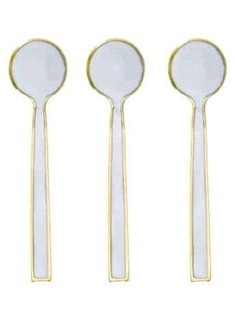 Bombay Duck - 5 Enamel Brushed Tea Spoons: Gold Cream