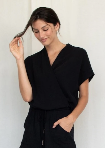Natalie Busby - Sleeveless Twist Blouse: Black