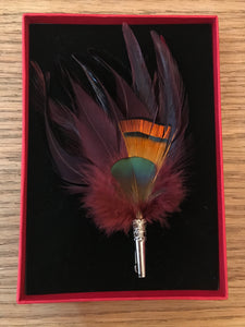 My Bob - Feather Loose Brooch Burgundy & Orange - ouimillie