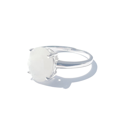 White Moonstone Faceted Ring
