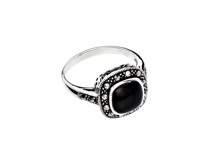 Marcasite & Onyx Ring