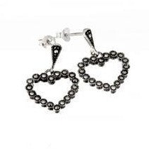 Marcasite Heart Earrings