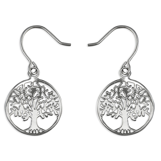 Round Tree Of Life Drop Earrings