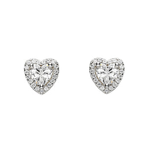 Heart Sparkle Stud Earrings