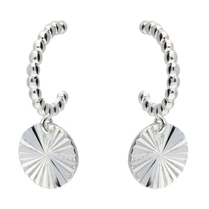 Silver Sunburst Hoops