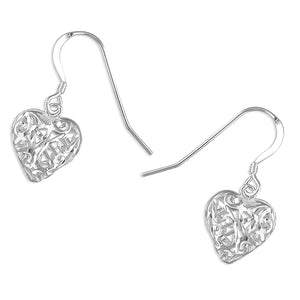 Diamond-cut Heart Drop Earring