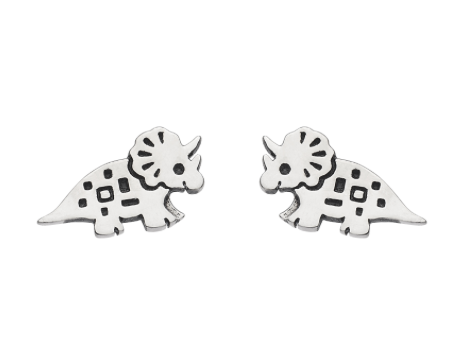 Dinky Triceratops Dinosaur Earrings