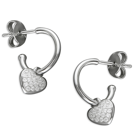 Sparkle Heart Hoop Earrings