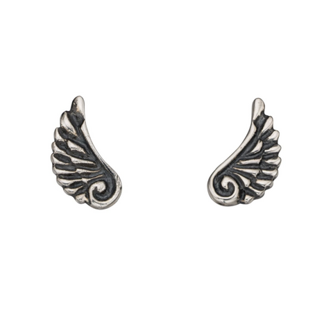 Mini Oxidised Angel Wing Earrings