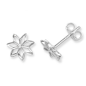 Diamond Cut Flower Earrings