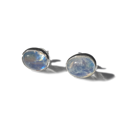 Blue Moonstone Oval Stud Earrings