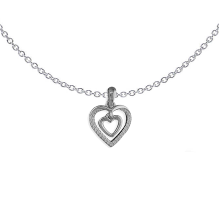 Double Hearts Sparkle Necklace