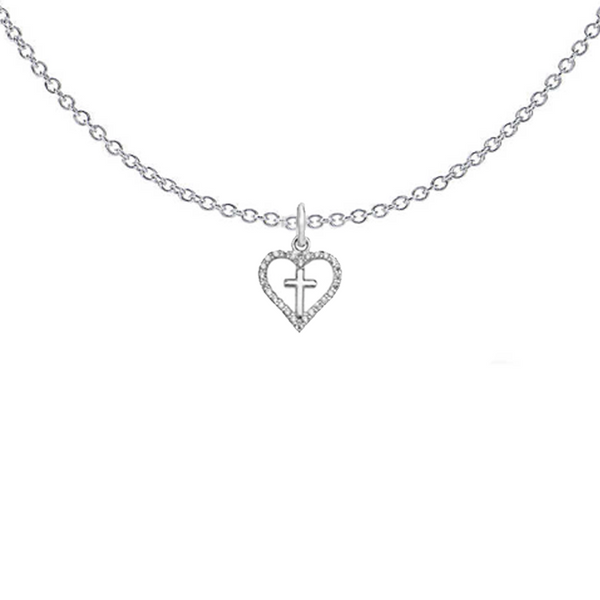 Small Cross In Heart Necklace