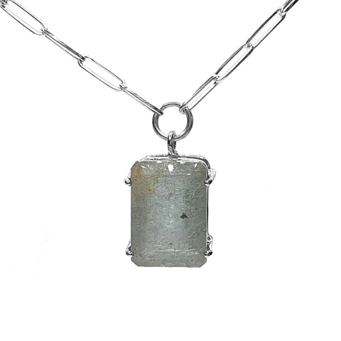 Midi Aquamarine Signature Stone Necklace