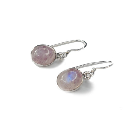Pink Moonstone Oval Drop Earrings