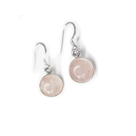 Rose Quartz Round Drop Earrings