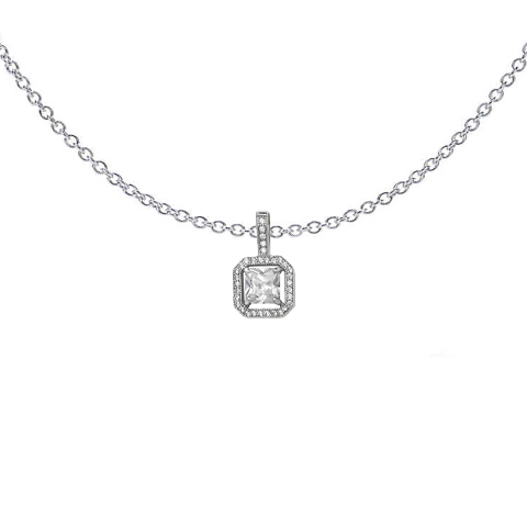Square Halo Set Necklace
