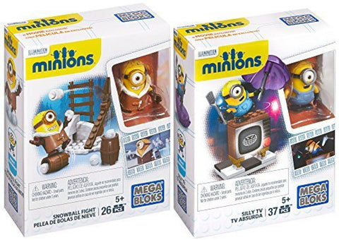Mega Bloks Minions Movie - Silly TV Set & Snowball Fight - 2 PK