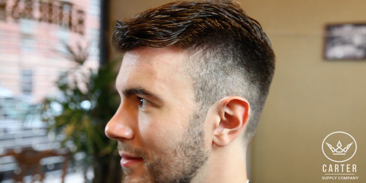 Cool Hairstyle For Men Medium Comb Over With Short Fade Hair