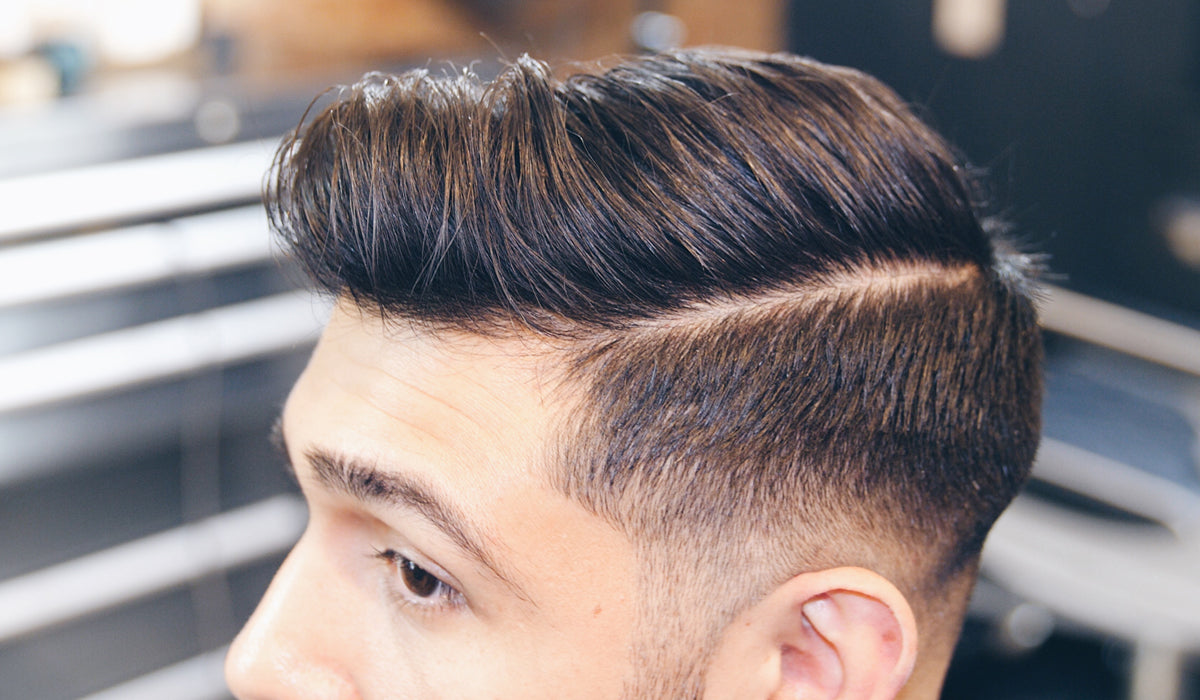 Medium Skin Fade Quiff Haircut Side Part Mens Hair 2018