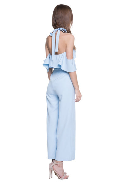 Ruffle Detailed Cold Shoulder Jumpsuit in Blue