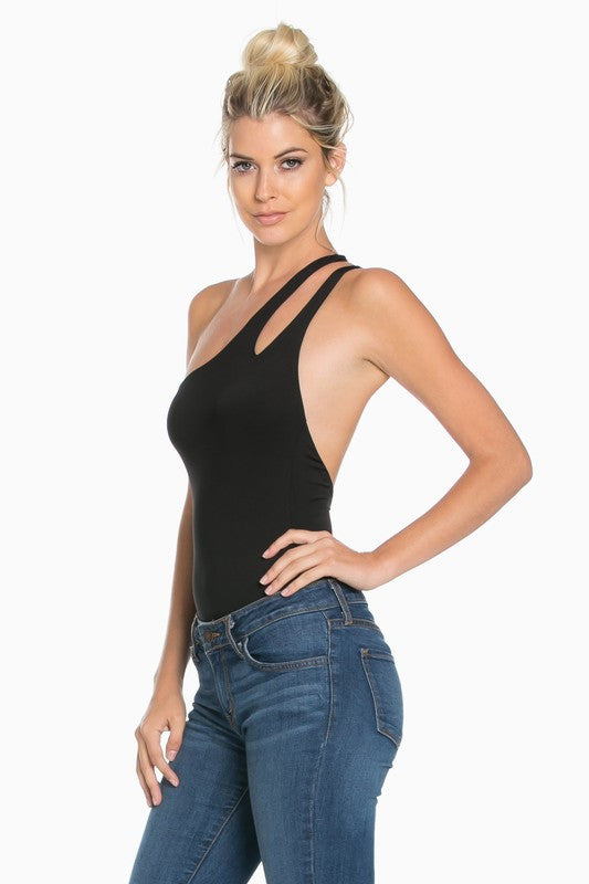 One Shoulder Bodysuit with Cutout Detail Black