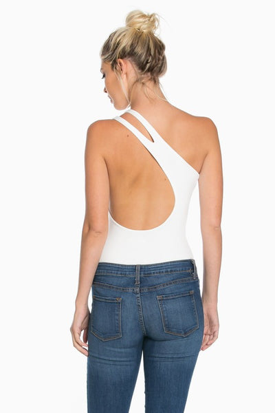 One Shoulder Bodysuit with Cutout Detail White