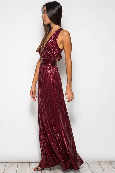Glamorous Long Sequin Maxi Dress in Red