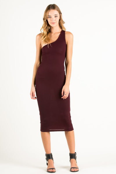 One Shoulder Dress in Burgundy