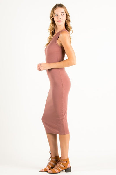 One Shoulder Midi Dress in Blush
