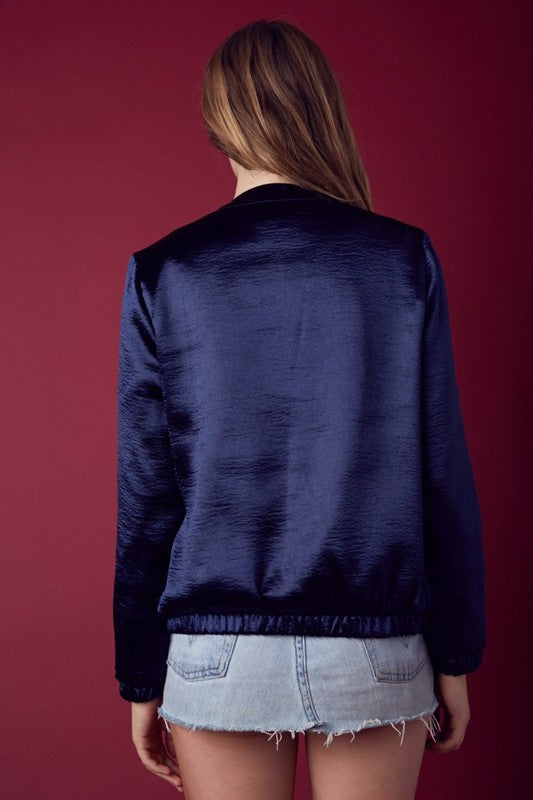High Sheen Light Satin Bomber in Navy