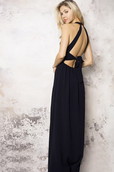 Rose Embriodery Maxi Dress in Black