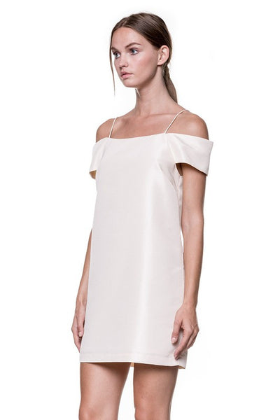Off Shoulder Cocktail Mini Dress in Champagne