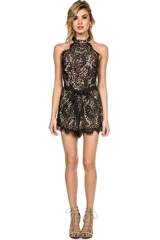 Scalloped Lace Romper Black -  - Romper - COME SHOP WITH LOVE - 1