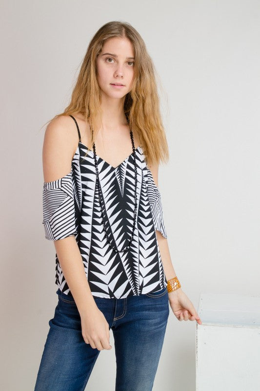 Black and White Geo Off Shoulder Top -  - Top - COME SHOP WITH LOVE - 1