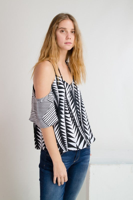 Black and White Geo Off Shoulder Top -  - Top - COME SHOP WITH LOVE - 3