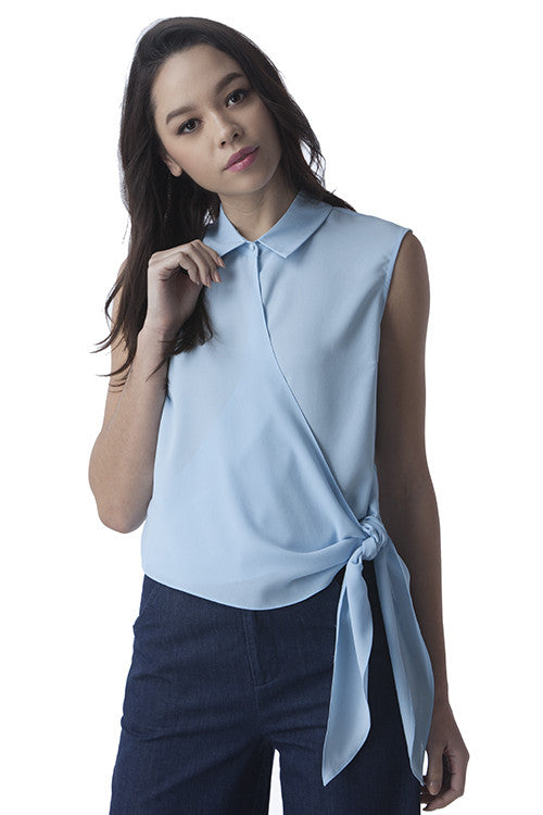 Powder Blue Sleeveless Side Tie Top -  - Top - COME SHOP WITH LOVE - 1