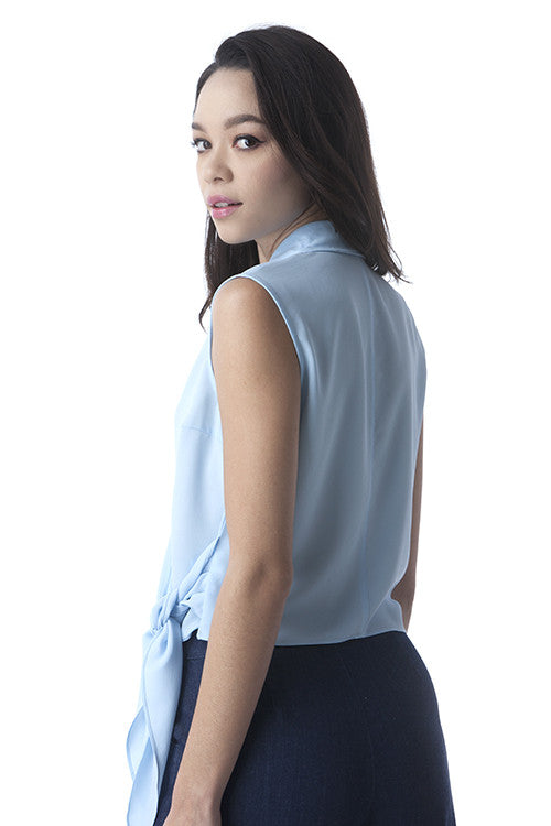 Powder Blue Sleeveless Side Tie Top -  - Top - COME SHOP WITH LOVE - 2