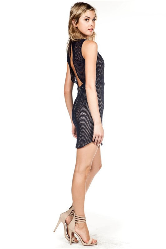 Curved Hem Lace Dress Black -  - Dress - COME SHOP WITH LOVE - 3