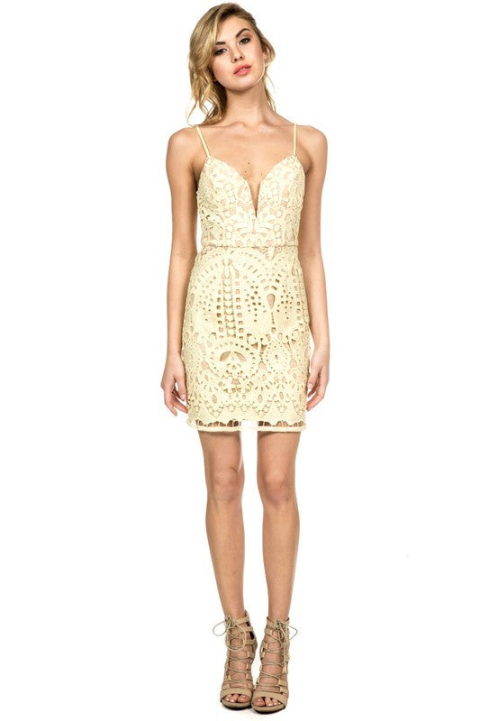 Crochet Lace Dress in Summer Yellow -  - Dress - COME SHOP WITH LOVE - 1